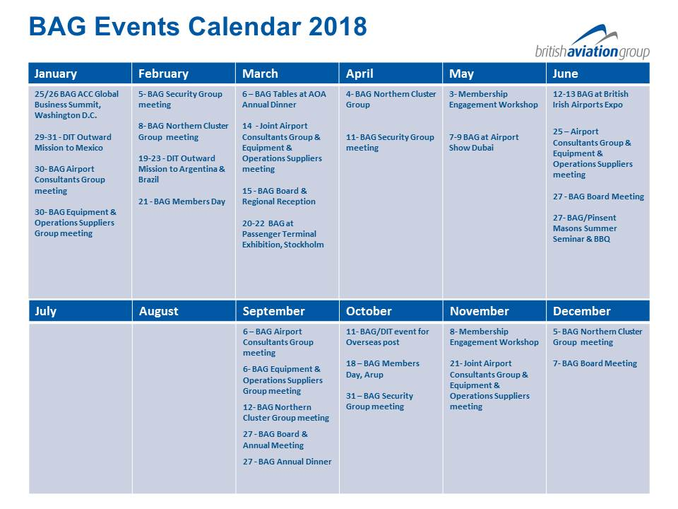 BAG Events Calendar 2018