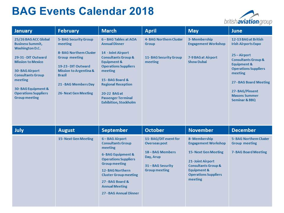BAG Events Calendar 2018