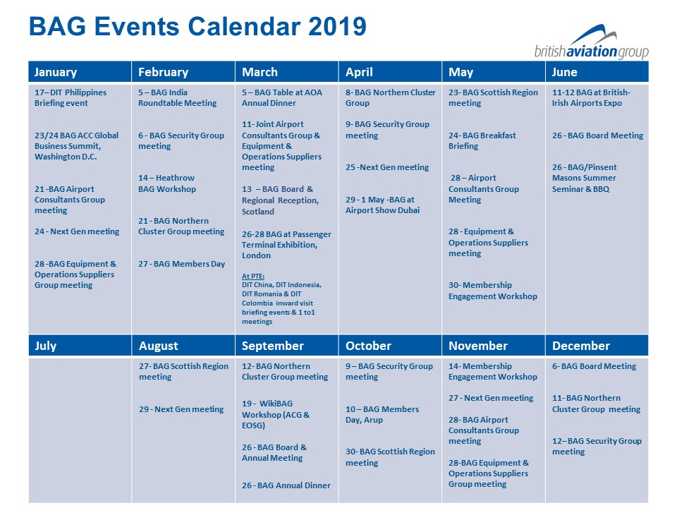 BAG Events Calendar 2019