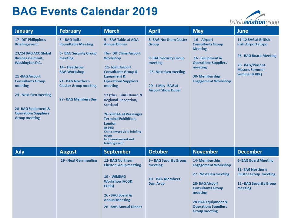 BAG Events Calendar 2019