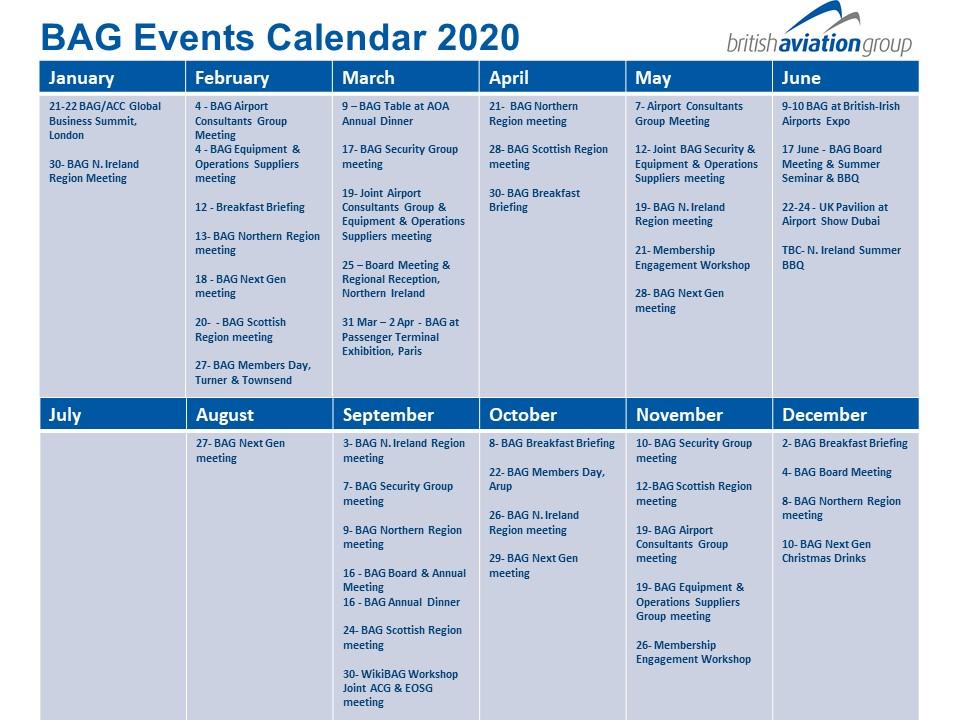BAG Events Calendar 2020