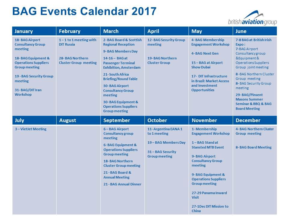 BAG Events Calendar 2017