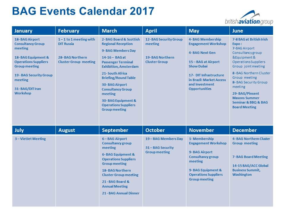 BAG Events Calender 2017