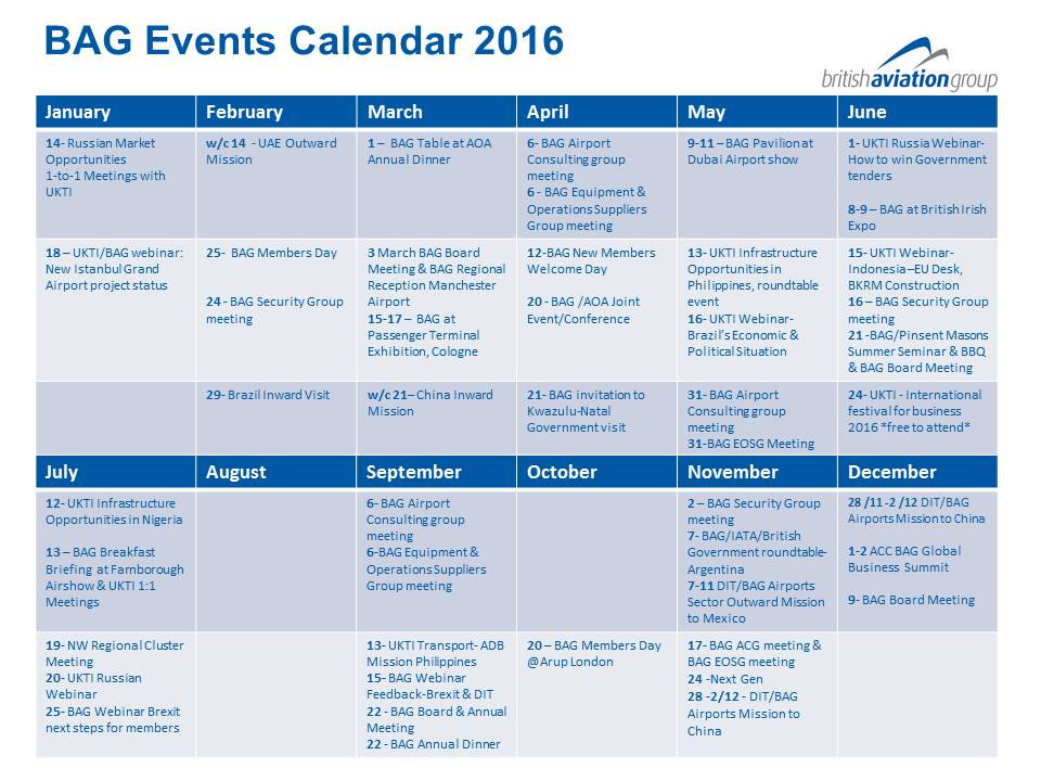 BAG Events Calendar 2016